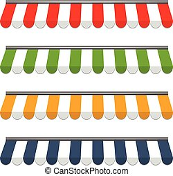 quatro, diferente, colorido, vetorial, toldos