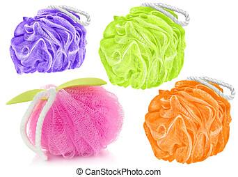 quatro, diferente, cores, sopros, caminhos, pessoal, isolado, banho, formas, higiene, fundo, produtos, cortando, included, branca, macio