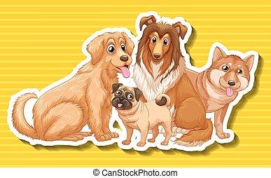 quatro, diferente, tipo, cachorros