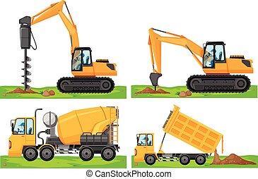 quatro, diferente, veículos, tipos, construção