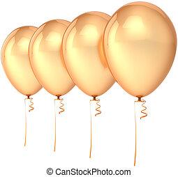 quatro, dourado, balões, partido, em branco