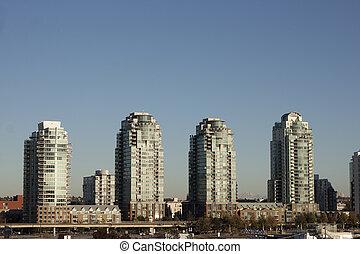 quatro, edifícios, em, falso, riacho, skyline, vancouver, bc