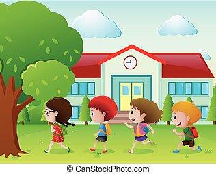 quatro, escola, ir, crianças