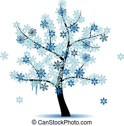 quatro, estação, árvore, -, inverno