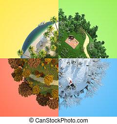 quatro, estação, globo, miniatura