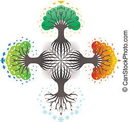 quatro estações, descrevendo, árvores