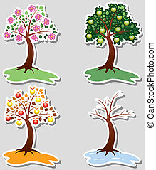 quatro estações, jogo, maçã, árvores