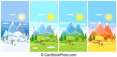 quatro estações, paisagem., bandeiras, com, árvores, montanhas, e, colinas, em, inverno, primavera, verão, autumn.