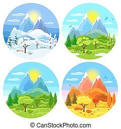 quatro estações, paisagem., ilustrações, com, árvores, montanhas, e, colinas, em, inverno, primavera, verão, autumn.