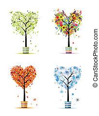 quatro estações, -, primavera, verão, outono, winter., arte, árvores, em, potes, para, seu, desenho