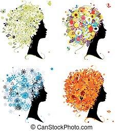 quatro estações, -, primavera, verão, outono, winter., arte, femininas, cabeça, para, seu, desenho