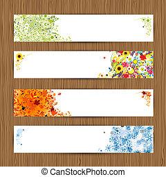 quatro estações, -, primavera, verão, outono, winter., bandeiras, com, lugar, para, seu, texto