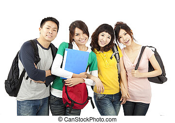 quatro, estudantes, jovem, feliz