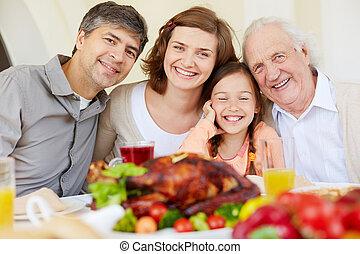quatro, família, feliz