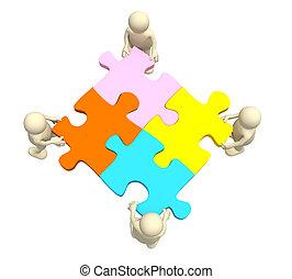 quatro, fantoches, segurando, em, mãos, um, quebra-cabeça