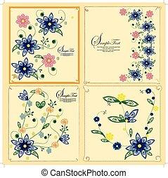 quatro, floral, jogo, cartão, fundo