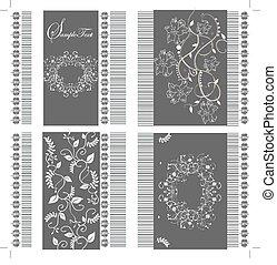 quatro, floral, jogo, cartões, fundo