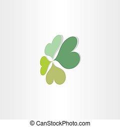 quatro, folheia, trevo, sorte, símbolo