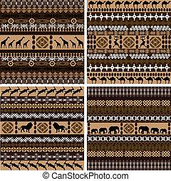 quatro, fundos, animais, arabescos, africano