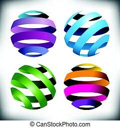 quatro, globos, abstratos