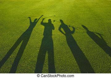 quatro, golfers, silueta, capim