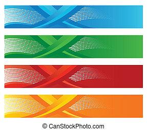 quatro, halftone, digital, bandeiras