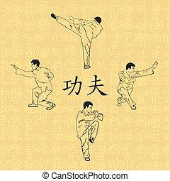 quatro, homens, acoplado, ilustração