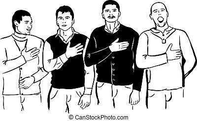 quatro, homens, escutar, e, cante, seu, hino nacional