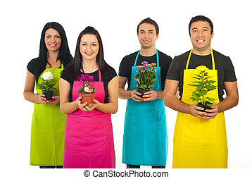quatro, jardineiros, trabalhadores, flores, oferecendo