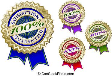 quatro, jogo, emblema, coloridos, 100%, selos, satisfação,...