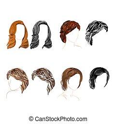 quatro, jogo, longo, natural, cabelo