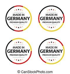 quatro, jogo, prêmio, título, alemão, qualidade, ícones, isolado, ilustração, símbolos, simples, vetorial, fundo, inglês, estrelas, branca, feito, adesivos, alemanha