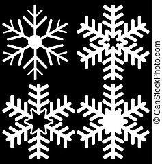 quatro, jogo, pretas, snowflakes, isolado