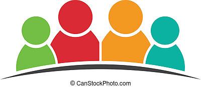 quatro, logotipo, amigos, pessoas