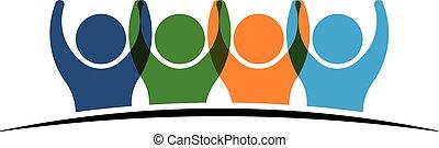 quatro, logotipo, segurando, hands., pessoas
