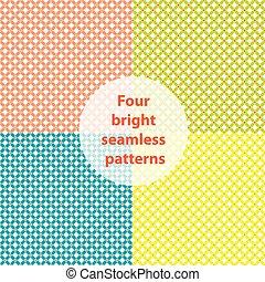 quatro, luminoso, seamless, patterns:, cor-de-rosa, azul, verde, yellow;, vetorial, ilustração