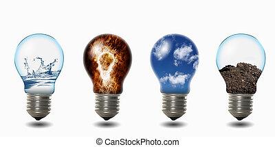 quatro, luz, elementos, bulbo