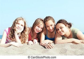 quatro meninas, ligado, um, praia