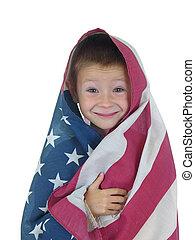 quatro, menino, bandeira