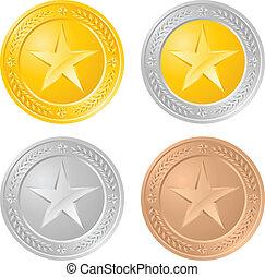 quatro, moedas, ouro
