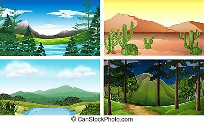 quatro, montanhas, árvore, cenas, natureza