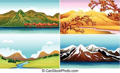 quatro, montanhas, cenas, fundo