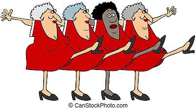 quatro, mulheres velhas, em, uma linha coro