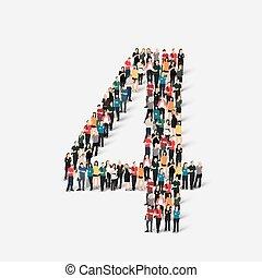 quatro, número, forma, pessoas