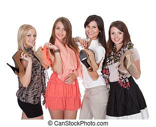 quatro, na moda, meninas, com, seu, sapatos