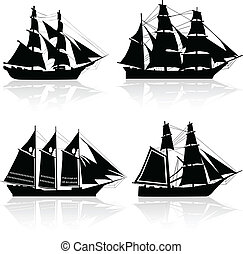 quatro, navio, vetorial, antigas, silhuetas
