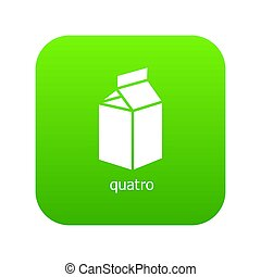 Quatro packag icon green isolated on white background