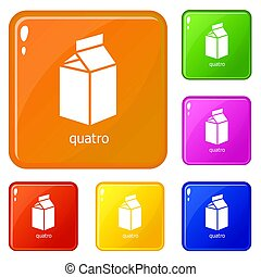Quatro packag icons set collection 6 color isolated on white background