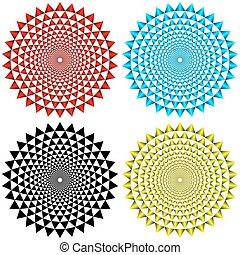 quatro, padrões, concêntrico, circular