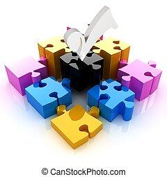 quatro, paleta, elements., quebra-cabeça, -, cmyk, imagem conceitual